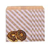 HONGECB 100 sacchetti di carta marrone, buste piatte per feste di compleanno, feste aziendali, matrimoni, regali, gioielli o sacchetti di ringraziamento, 13 x 18 cm, strisce diagonali