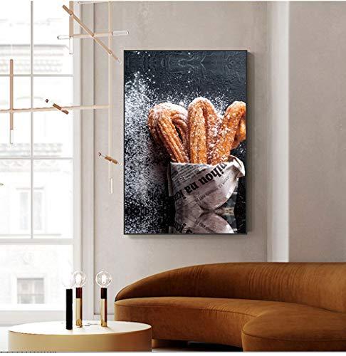 Wydlb Print lekkere levensmiddelen canvas poster brood schilderwerk, woonkamer poster muurkunst pictrue voor keuken restaurant decoratie schilderij 60x90cm zonder lijst