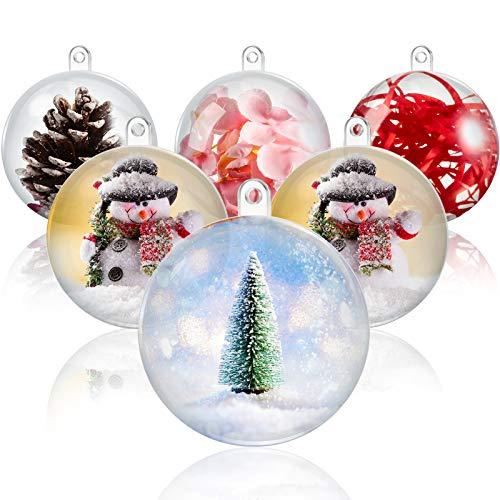 Outus 36 Pieces 6 cm Clear Plastic Ornaments Ball Acrylic Fillable Transparent Bauble Christmas Ornament DIY Plastic Mold Individual Ball Bath Bombs for Wedding Party Xmas Decor