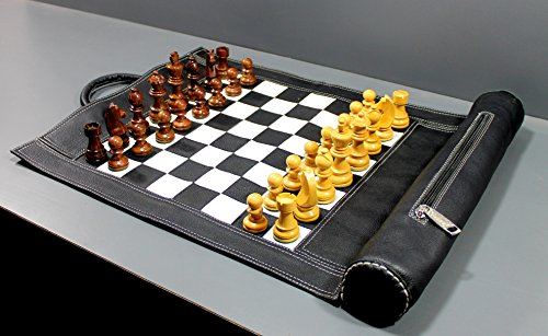 StonKraft - 19' x 15' (Playing area 12' x 12') Genuine Roll-Up Leather Chess Set - with Wooden Chess Pieces - Black Colour | Comes with Innovative Carry Pouch