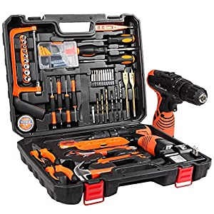Letton Kit de herramientas con taladro inalámbrico de 16.8 V, 60 accesorios Juego de herramientas de kit de reparación inalámbrico para el hogar