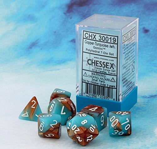 Chessex Lab Dice 3: Gemini 7Pc Copper-Turquoise/White, Multi-Colored