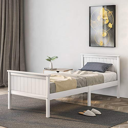 JIESD-Z Wooden Single Bed Frame White Solid Pine Bed Base for Adults, Kids, Teenagers