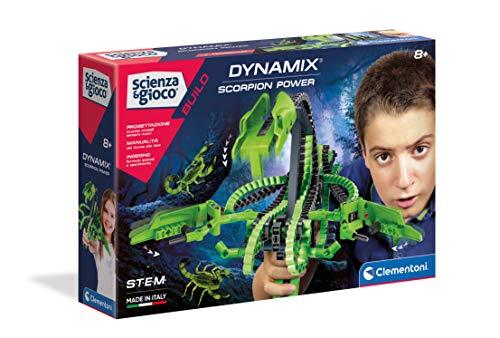 Clementoni- Scienza Build-Dynamix-Scorpion Power, Set di Costruzioni Flessibili, Gioco scientifico (Versione in Italiano), Bambini 8 Anni+, Made in Italy, Multicolore, 19213