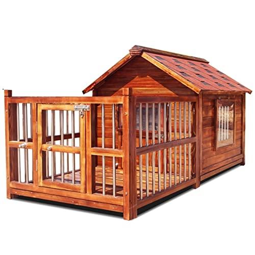 Casetas para perros Casa para Perros Al Aire Libre Perrera De Madera Maciza Impermeable Perro Mediano Y Grande Perrera Golden Retriever Perrera Cálida (Color : Brown, Size : 144 * 69 * 88cm)