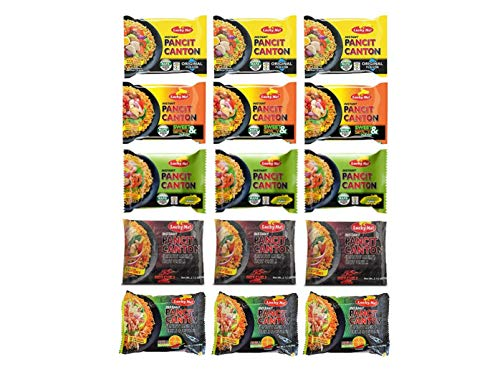 Lucky Me! Instant Pancit Canton Assorted 15 Pack (Kalamansi, Sweet & Spicy, Original, Chilimansi and Hot Chilli)