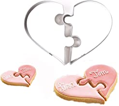KALAIEN Valentine Heart Shaped Cookie for Two Cutters Heart Puzzle Cookie Cutters
