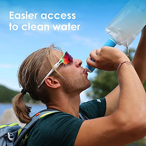 Waterdrop Gravity Water Filter Straw, Portable Water Purifier Survival for Camping, Hiking, Backpacking and Emergency Preparedness, Blue