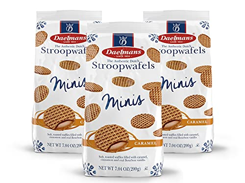 DAELMANS Stroopwafels, Dutch Waffles Soft Toasted, Pack of 3, Caramel, Office Snack, Mini Size, Kosher Dairy, Authentic Made In Holland, Bag of Mini Stroopwafels, 7.04oz (3 Pack)