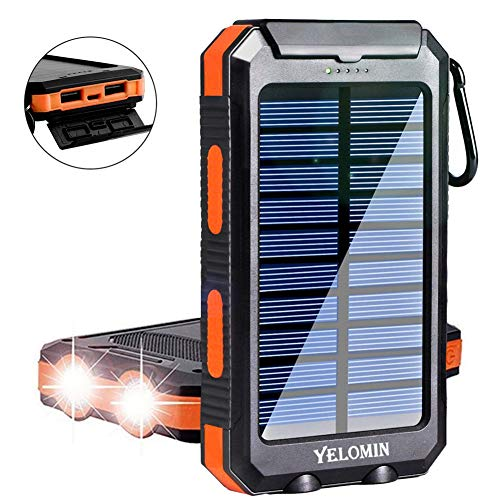 Solar Charger,Yelomin 20000mAh Portable Outdoor Waterproof Mobile Power Bank,Camping External Backup Battery Pack Dual USB 5V 1A/2A Outputs 2 Led Light Flashlight with Compass
