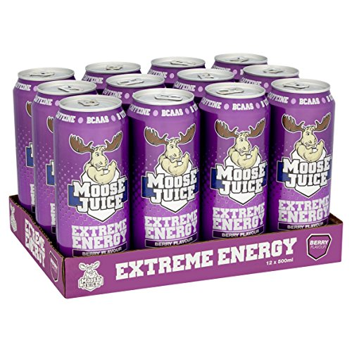 Muscle Moose – Moose Juice Extreme Energy | Caffeine Drink, BCAA & B Vitamins, Zero Sugar, Aspartame-free, Berry 500ml (12 Cans)