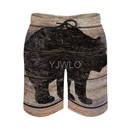 YJWLO - Pantalones cortos de playa para hombre, diseño de oso rústico