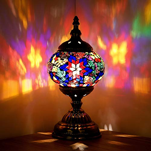 Turkish Moroccan Lamp Marrakech Handmade Mosaic Glass Table Desk Bedside Lamp Night Light for Living Room Bedroom Coffee Table (Blue)