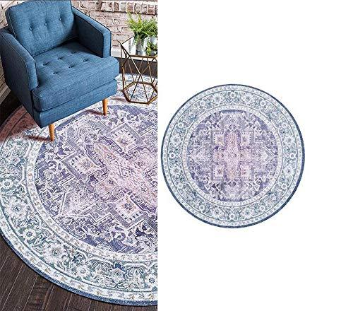 Topinged Round Rug Bohemian Printed Pattern,for Livingroom Bedroom Garden Patios Sofa Kids Room Soft Washable-Diameter 120CM