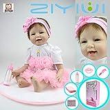 ZIYIUI 22 '55cm Wiedergeboren Baby Puppe Silikon-Vinyl-Puppe Realistische Babypuppe Neugeborenes...