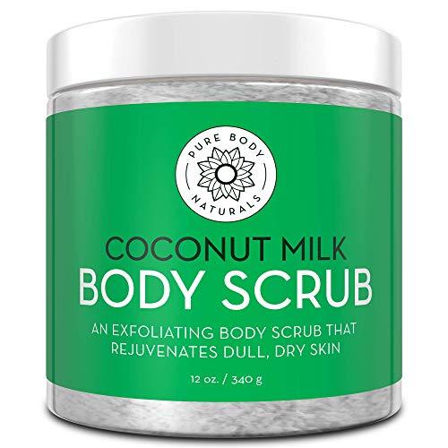 Pure Body Naturals - Crème Exfoliante pour le Corps à la Noix de Coco et au Sel de la Mer Morte, avec de l'Huile d'Amande et de la Vitamine E - Convie