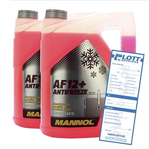 MANNOL 2X 5L Antifreeze Kühlerfrostschutz G12+ Kühlmittel Rot AF12+ bis - 40°C