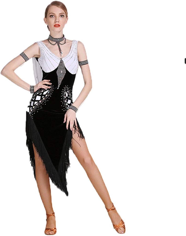 YTS Adult Professional Latin Dance Show Skirt Fringed Backless Ballroom Performance Dance Rumba Samba Irregular Skirt Dress