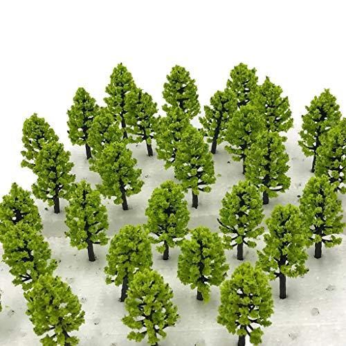 [DauStage] 杉の木 森林 スギ 模型 選べる 色 サイズ Nゲージ ジオラマ 鉄道 建築 用 樹木 風景 モデルツリー ミニチュア (薄緑, 6cm 30本セット)