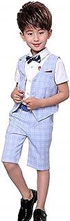 ベビー ボーイズ 半袖 フォーマル スーツ 男の子 チェック柄 上下 2点 セット ネクタイ ベスト 子供服 七五三 結婚式 発表会