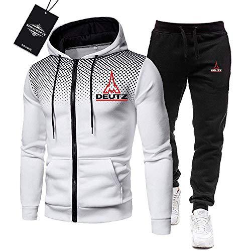 Martin de Los Hombres Chandal Conjunto Trotar Traje Deu-Tz Hooded Zipper Chaqueta + Pantalones Deporte R Gimnasio/Blanco/L