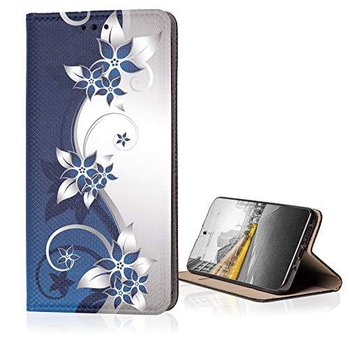 KX-Mobile Hülle für Xiaomi Redmi 7A Handyhülle Smart Magnet mit Motiv 211 Ranke blau weiß