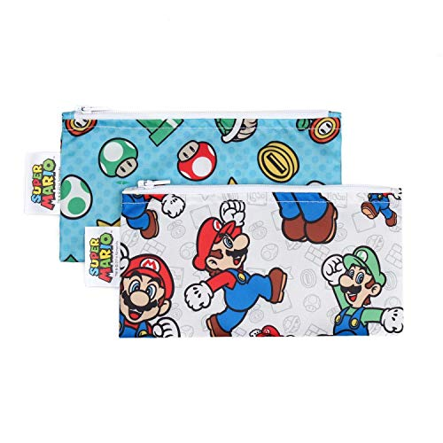 Bumkins Snack Bags, Reusable Fabric, Washable, Food Safe, BPA Free - Nintendo Mario & Luigi (2-Pack)
