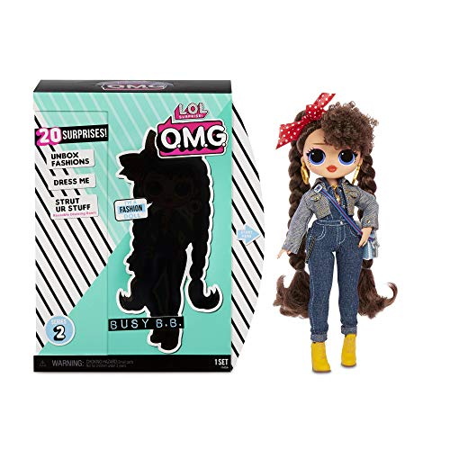 L.O.L. Surprise! 565116E7C O.M.G. Fashion Doll Busy B.B. Series 2, Ankleide- und Sammelpuppe mit Haaren und 20 Überraschungen, 27 cm