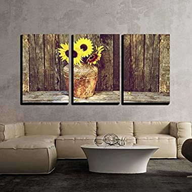 wall26 - 3 Piece Canvas Wall Art - High Contrast, Vintage Image of a Rustic Vase with Beautiful Sunflowers - Modern Home Decor Stretched and Framed Ready to Hang - 16 x24 x3 Panels