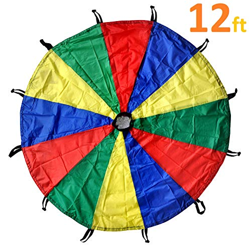 GSI Kids Play Parachute Rainbow Parachute Toy Tent Game for Children Gymnastics Cooperative Play and Outdoor Playground Activities (12 Feet 12 Handles)
