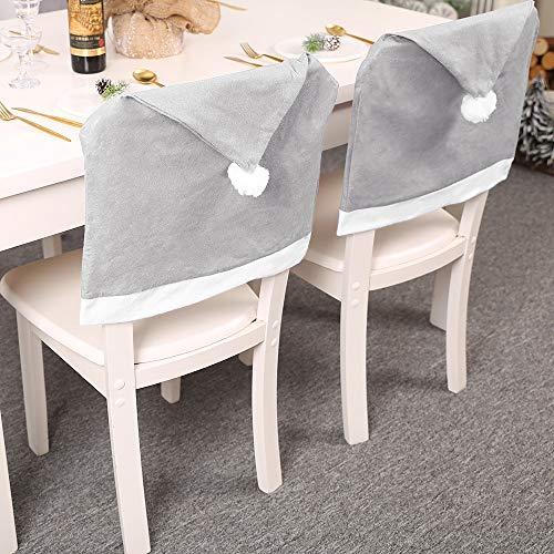 FJROnline - Funda protectora para silla de cocina, 4 unidades, color gris