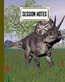 """Session Notes Log: A Logbook to Record Client Appointments, Psychotherapists and Clinicians With Zuniceratops Dinosaurs Cover 