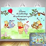 NSY Classic Winnie The Pooh Theme Photography Background Newborn Baby Shower Cartoon Baby Boys Girls Birthday Party Cake Table Decorations Banner (7x5ft)