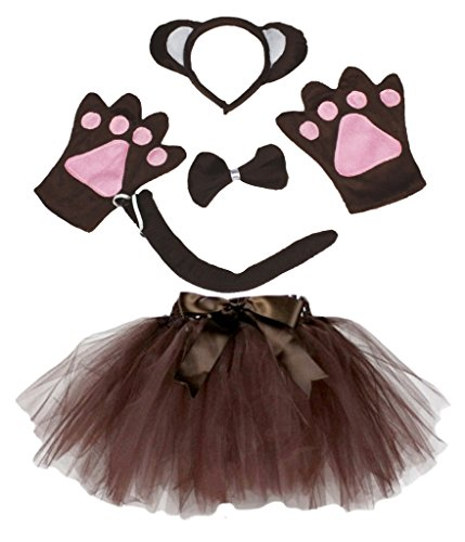 petitebelle Affe Kostüm Stirnband Schleife Schwanz Handschuhe braun Tutu Set für Lady Gr. One Size, braun
