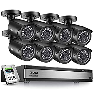 ZOSI H.265+ 1080p 16 Channel Security Camera System,16 Channel DVR with Hard Drive 2TB and 8 x Outdoor Indoor CCTV Bullet Camera 1080p with 80Foot Long Night Vision and 110°Wide Angle -Black