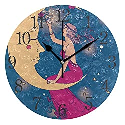 senya Wall Clock Beautiful Poster in Art Nouveau Style with Party Woman and Moon Starry Sky Silent Non Ticking Operated Round Easy to Read Home Office School Clock
