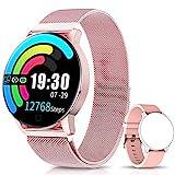 NAIXUES Smartwatch, Reloj Inteligente IP67 con Presión Arterial, 10 Modos de Deporte, Pulsómetro, Monitor de Sueño, Notificaciones Inteligentes, Smartwatch Hombre Mujer para iOS y Android (Rosa)
