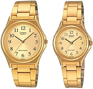 Casio His & Hers Gold Dial Stainless Steel Band Couple Watch - MTP/LTP-1130N-9B For Unisex, Analog, Quartz