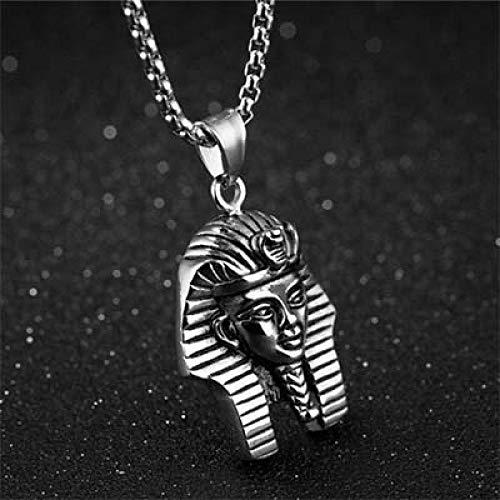 U/D Colgante de Hip Hop para Hombre, Colgante de Cabeza de faraón Egipcio de Acero Inoxidable, Collar, Cadena, joyería Punk, Regalo de cumpleaños Creativo