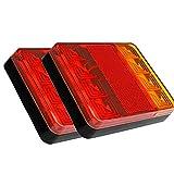 Ghopy 2PCS 8 LED Luces Traseras Remolque Cola Señal Piloto Impermeable Luz Rojo �mbar Freno Indicador Lámpara para 12V Coche Camión Carro Camión Barco