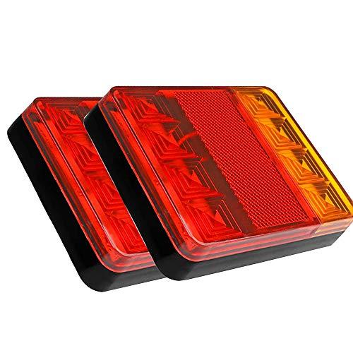Ghopy 2PCS 8 LED Luces Traseras Remolque Cola Señal Piloto Impermeable Luz Rojo Ámbar Freno Indicador Lámpara para 12V Coche Camión Carro Camión Barco