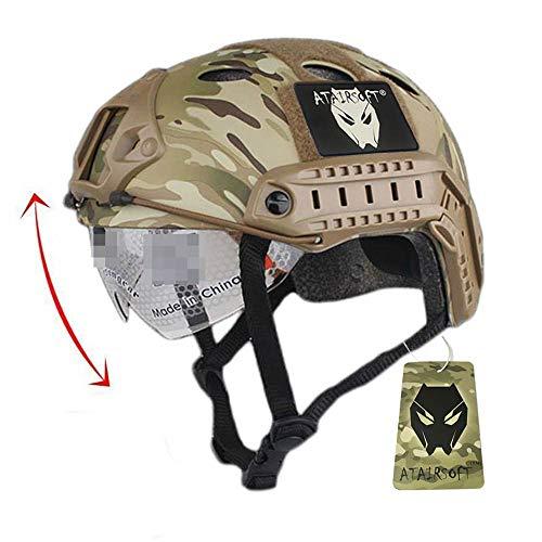 ATAIRSOFT Softair Tarnen FAST PJ Swat Kampfhelm für Airsoft Paintball Mock Militärausrüstung mit Skibrille Multicam