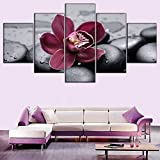 5 paneles modernos impresiones orquídea y piedra pintura pared lienzo decorativo pintura para sala de estar marco de imagen modular