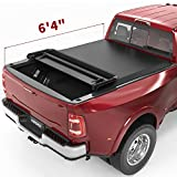 oEdRo Quad Fold Tonneau Cover Soft Four Fold Truck Bed Covers Compatible with 2002-2020 Dodge Ram 1500 ; 2003-2020 Dodge Ram 2500 3500, Fleetside, 6.4' Bed (for Models w/o Ram Box)