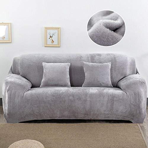 XCVBS Sofa Covers voor Woonkamer Huisdieren Stoelhoes Kussenhoes Sofa Handdoek 1PC Pluche Sofa Cover Stretch Effen Kleur Dikke Hoes, Zilvergrijs