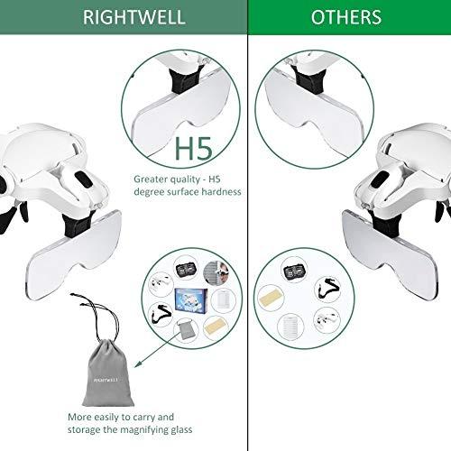 Rightwell Lupenbrille Led Licht Hände Frei Kopfband Lupen Lampe Stirnband Brille Lupen Verstellbare für Hobby,Denest,Elektriker,Juweliere,Nähen,Handwerk,Kosmetik und ältere Menschen-2er LEDs,1.0X, 1.5X, 2.0X, 2.5X, 3.5X - 3