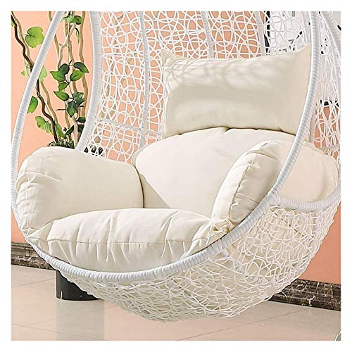 BDBT Garden Furniture Rocking Chair Cushion Wicker Rattan Hanging Egg Chair Pads Non-Slip Soft Swing Chair Cushion Without Stand Indoor Balcony Pad Garden (Color : White)