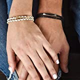 Couple Bracelets - His And Hers Bracelet - Black And White Leather Bracelet For Couples Set With Tube Pendant - Matching...
