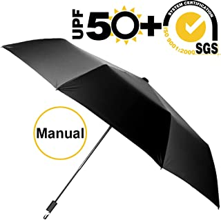 ABCCANOPY Umbrella Compact Rain&Wind Teflon Repellent Umbrellas Sun Protection with Black Glue Anti UV Coating Travel Auto Folding Umbrella, Blocking UV 99.98%