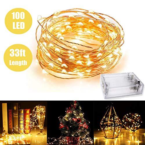 Lumière de fée avec 100 LED, fil de cuivre imperméable lumières étoilées par batterie à piles pour la chambre à coucher intérieure et patio extérieur maison de mariage (33ft / 10M, blanc chaud)